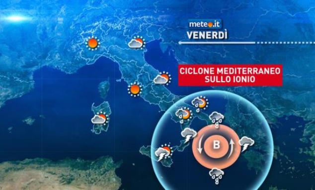 Il ciclone mediterraneo che si formerà sullo Ionio, il medicane Numa, provocherà maltempo al Sud e in Sicilia, con piogge e temporali intensi soprattutto sul nord-est della Calabria