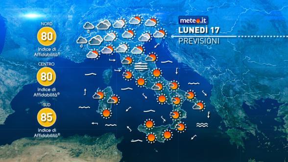 Meteo Italia del 17 ottobre: debole perturbazione in transito Previsioni | METEO.IT