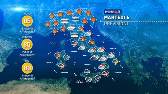 Meteo Italia del 6 dicembre. Maltempo sulle Isole, più soleggiato nel resto del Paese Previsioni | METEO.IT