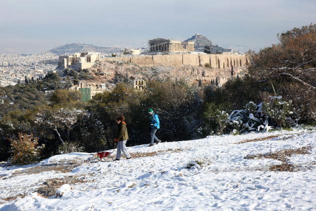 Neve ad Atene, Grecia - Foto ANSA