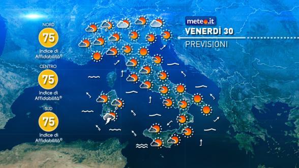 Meteo Italia del 30 settembre: peggiora dalla Sardegna Previsioni | METEO.IT