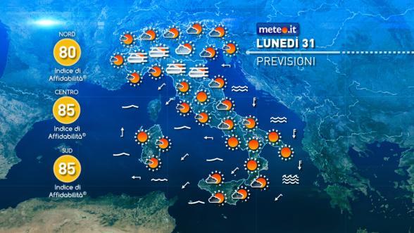 Meteo Italia del 31 ottobre: tempo stabile, aumentano le nubi al Nord Previsioni | METEO.IT