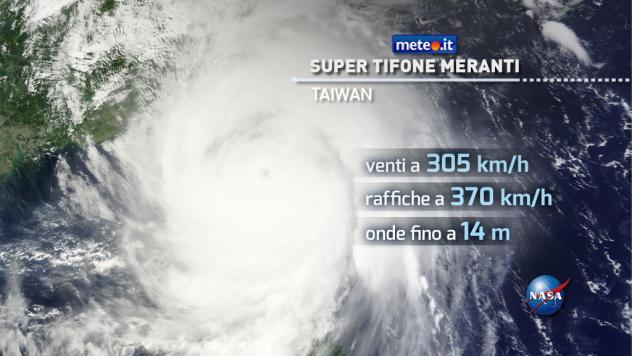 Il super tifone Meranti sulla città di Taiwan